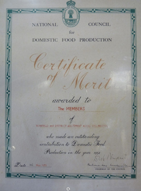 Certificate of Merit, 1953