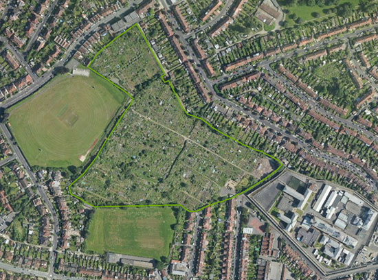 Figure 1: Golden Hill Allotments aerial view, 2012