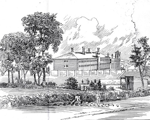 Figure 5: Samuel Loxton drawing of Horfield Prison with Golden Hill allotments in foreground, 1891