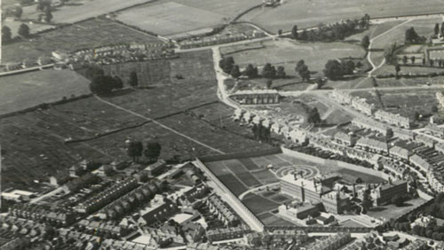 Figure 9: Aerial photo of Golden Hill showing allotments and prison, 1930s