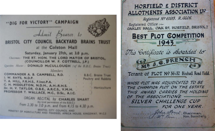 Historical documents relating to the history of horfield allotments.