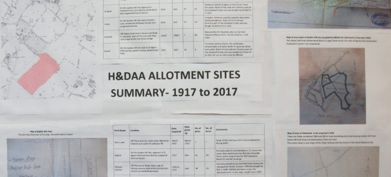Allotment Sites 1917 to 2017 Display Board for Centenary Open Day