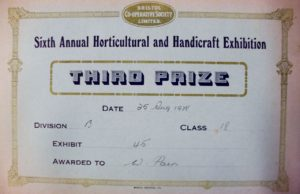 1988 3rd prize card for Bill Pain