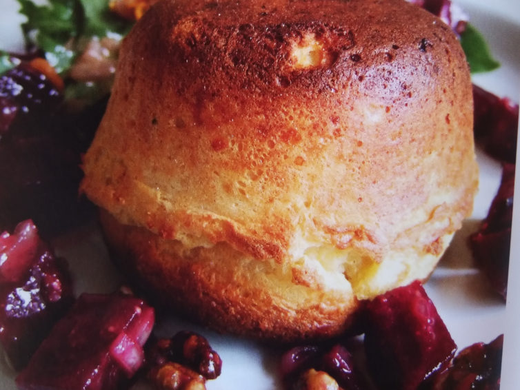 Goat's cheese soufflé with beetroot and walnut salad