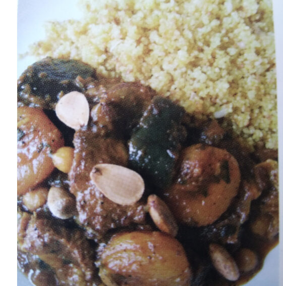 Spiced Lamb with aubergines, chickpeas and apricots