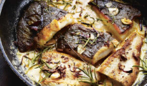 Brill baked in cider with thyme, tomato and mustard
